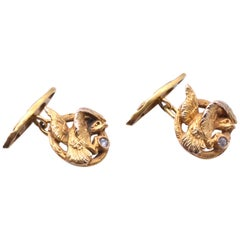 Gold and Diamond Eagle Cufflinks