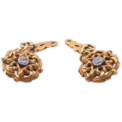 Art Nouveau Gold and Diamond Cufflinks, circa 1900