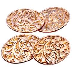 Antique Art Nouveau Floral Engraved 9 Karat Gold Cufflinks Hallmarked, 1908