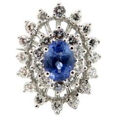 Estate Vintage 14 Karat Gold Diamond and Sapphire Double Halo Cocktail Ring