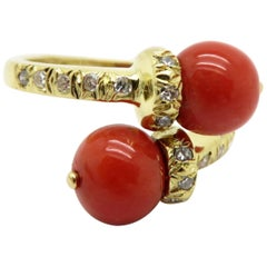 Estate Designer Tiffany & Co. 18 Karat Yellow Gold Coral and Diamond Bypass Ring