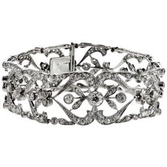 Antique Edwardian Old European Cut Diamond Bracelet in Platinum