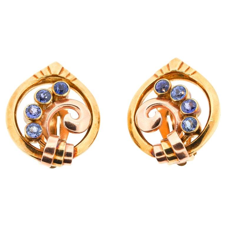 Vintage Tiffany & Co. Retro Two-Tone 14 Karat Gold Sapphire Earrings