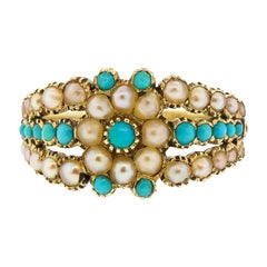 Antique Georgian Turquoise Split Pearl Engraved Gold Ring