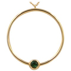 18 Karat Yellow Gold Green Tourmaline Garavelli Long Necklace