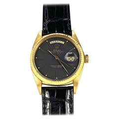 Rolex 18 Karat Yellow Gold Day Date President Black Dial Automatic Watch, 1970s