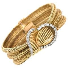 1970s Three-Tier Mesh, Wide, 18 Karat Yellow Gold and Diamond Inlay Bracelet