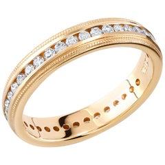 Yellow Gold Eternity Diamond Milgrain Wedding Band Weighing 0.50 Carat