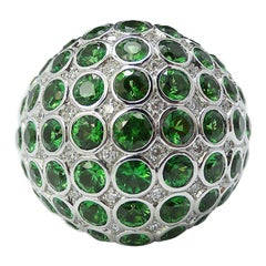 Tsavorite Diamond Bombe Dome Cocktail Ring