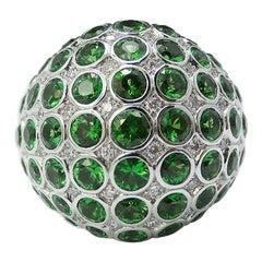 Tsavorite Diamond Bombe Dome Cocktail Ring