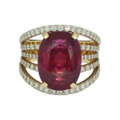 6.74 Carat Pink Tourmaline Split Shank Ring