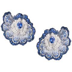 Blue Sapphire Diamonds White Gold Cushion Cut Flower Stud Earrings