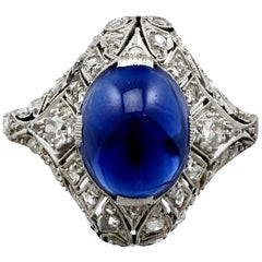 1930s Antique 5.21 Carat Sapphire and Diamond Platinum Cocktail Ring