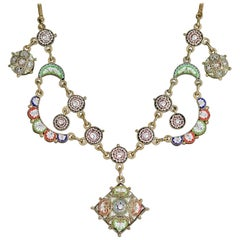Antique Victorian Micro Mosaic Necklace, circa 1880