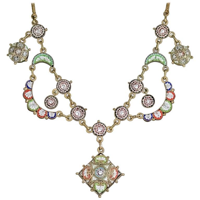 Antique Victorian Micro Mosaic Necklace, circa 1880