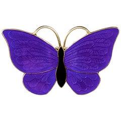 Antique Victorian Blue Enamel Butterfly Brooch Silver, circa 1900