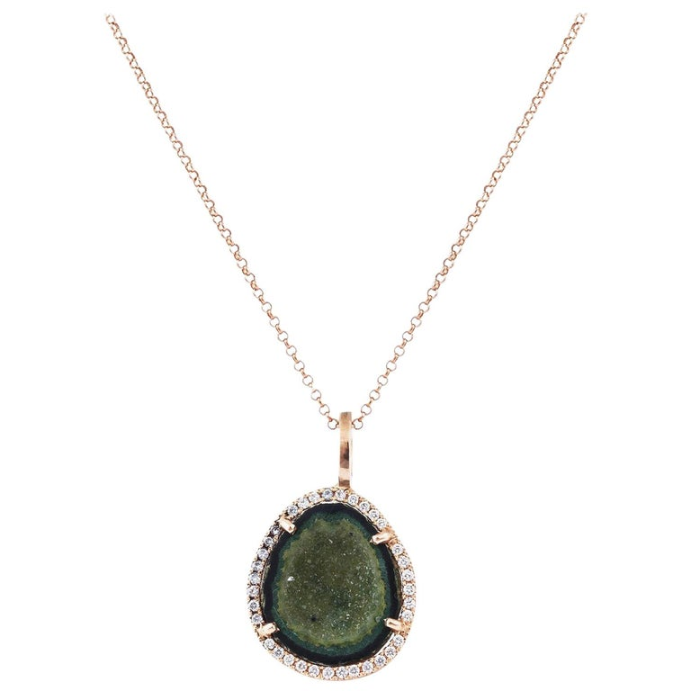 Karolin Rose Gold White Diamond Pendant Agate Necklace