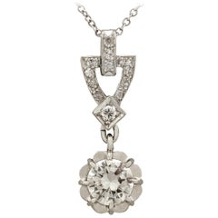 Antique 1930s French Diamond and Platinum Pendant