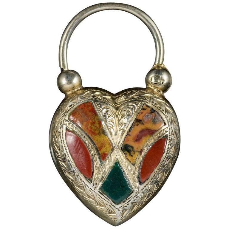 Antique Victorian Scottish Agate Heart Padlock Pendant, circa 1860