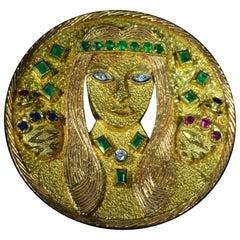 Vintage Signed Goldman Kolber Custom Inca or Mayan Lady Pendant Brooch Combo