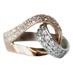1950s 1 Carat Diamond and Two-Tone 18 Karat White and Rose Gold Cocktail Ring
