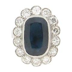 7.10 Karat Sapphire 18 Karat White Gold Diamonds Cocktail Ring