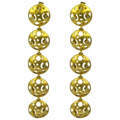 Fei Liu 18 Karat Yellow Gold Earrings with Multi Diamond Set