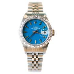 Ladies Diamond Rolex Oyster Perpetual Date Wrist Watch, 18 Karat White Gold