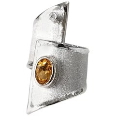 Yianni Creations 1.25 Carat Citrine Diamond Fine Silver Palladium Geometric Ring