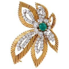 Van Cleef & Arpels Gold, Platinum, Diamond and Emerald Floral Brooch
