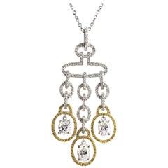 2.98 Carat Diamond and Yellow Diamond Drop Pendant in White and Yellow Gold