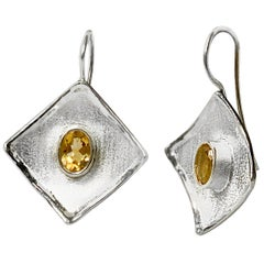 Yianni Creations 2.50 Carat Citrine Fine Silver and Palladium Dangle Earrings