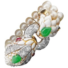 David Webb Platinum Gold Diamond Jade Ruby Pearl and Enamel Bracelet