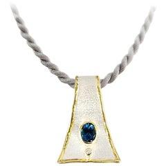 Yianni Creations 2.50 Carat Blue Topaz Diamond Fine Silver 24 Karat Gold Pendant
