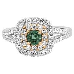 Alexandrite Round White Diamond Double Halo Two-Color Gold Bridal Fashion Ring