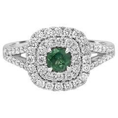Alexandrite Round White Diamond Double Halo Gold Bridal Fashion Ring