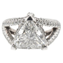 3.00 Carat Trillion Cut Diamond 14 Karat White Gold Engagement Ring