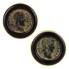 Ella Gafter Antique Copper Coin Cufflinks Yellow Gold