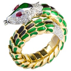 Italian Style Diamond Serpent Coil Snake Ring