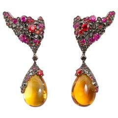 Stefan Hafner Ruby Sapphire Gemstone Large Citrine Cabochon Drop Earrings