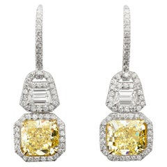6.05 Carat Fancy Yellow Radiant Cut Diamond Dangle Earrings GIA