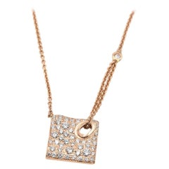 1.22 Carat Diamond 14 Karat Rose Gold Pave Set Diamond Square Necklace