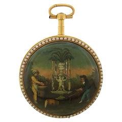 Swiss Enamel Automaton Keywound Pocket Watch, circa 1700s