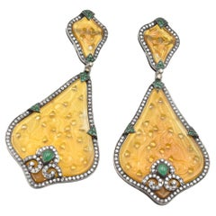 Yellow Jade, Diamond and Emerald Sterling Silver and 14 Karat Gold Earrings