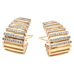 14 Karat Yellow Gold Diamond J Style Omega Non-Pierced Earrings