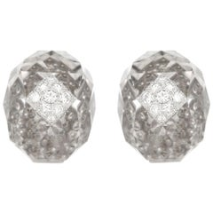 David Webb Rock Crystal and Diamond Earclips
