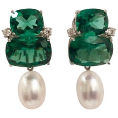 Double Cushion Green Amethyst Stone Earrings with Detachable Pearls