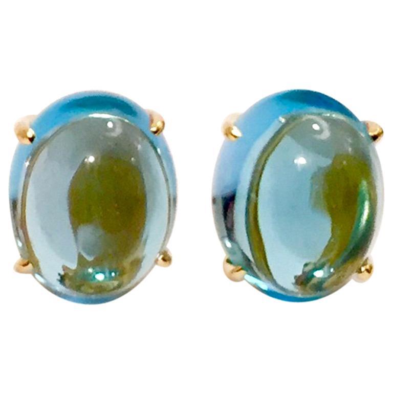 Cabochon Blue Topaz Stud Earring