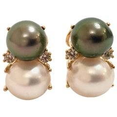 18 Karat Medium Gum Drop Earrings with Pearls and Diamonds