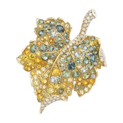 Christian Dior Diamond Sapphire Brooch